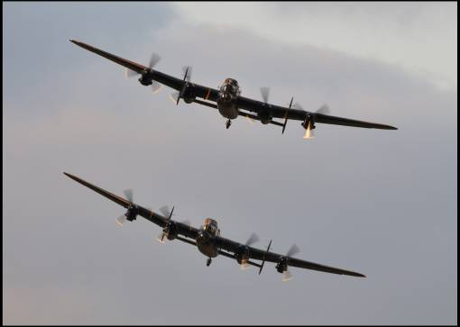 Two Lancasters in formation for the first time in 50 years.