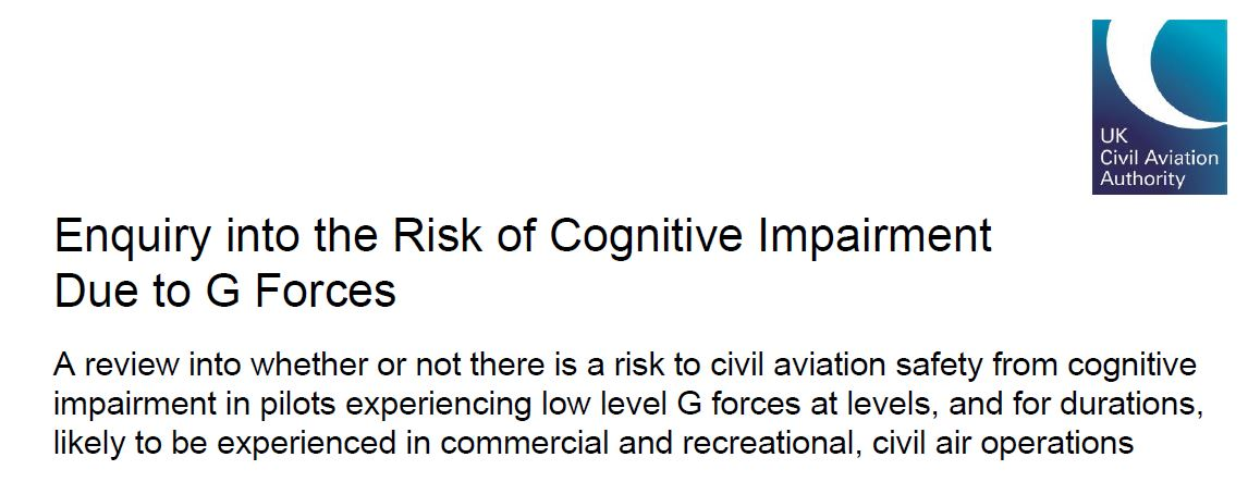 Review into Risk of Cognitive Impairment Due to G Forces published